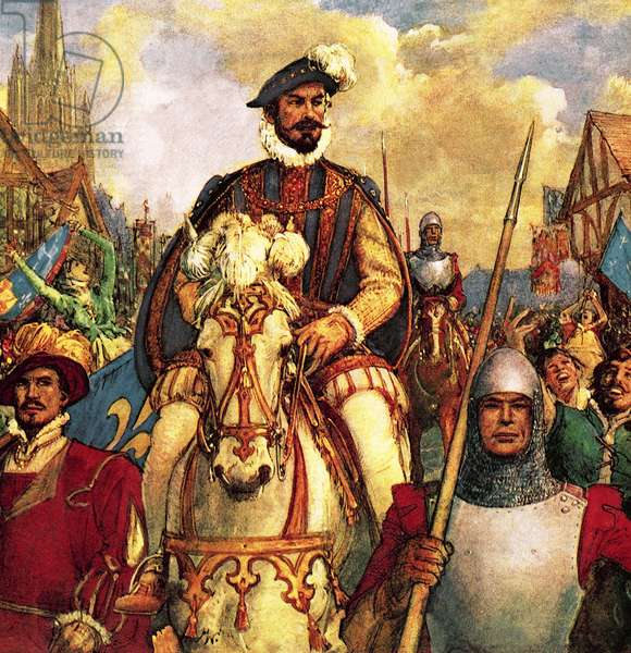 The Duke of Guise returns to Paris in triumph in 1588 after defeating the French Protestant rebels.