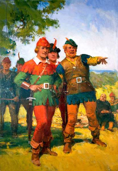 Robin Hood with his Merry Men (gouache on paper)