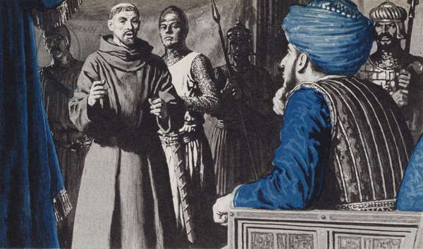 Francis tried to convert the Turkish Sultan whose troops has occupied the Holy City of Jerusalem (litho)