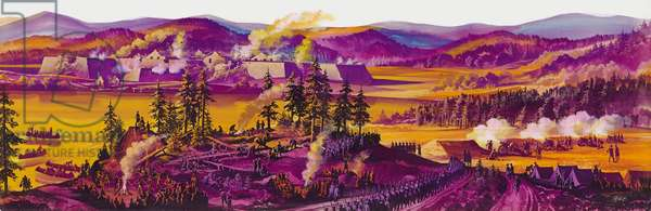 The Siege of Fort William Henry (gouache on paper)