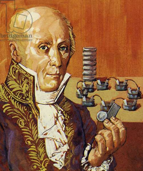 Volta and Galvani showed that electricity could be produced by chemical action (colour litho)