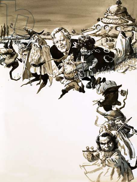 J. R. R. Tolkien and characters from Lord of the Rings (gouache on paper)