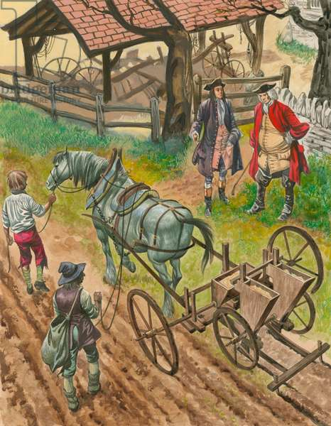 A farmer showing off his labourers using the new drilling machine invented by Jethro Tull (gouache on paper)