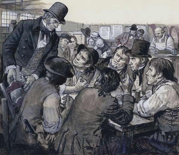 Colonel Despard recruiting political malcontents in the shady haunts of London's underworld (gouache on paper)