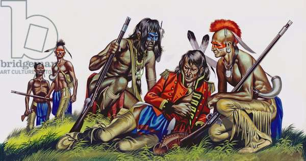Death of an American native Indian chief (gouache on paper)