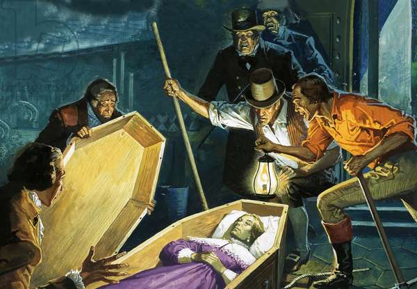 Unidentified tomb raiders opening a coffin to discover the body of a woman