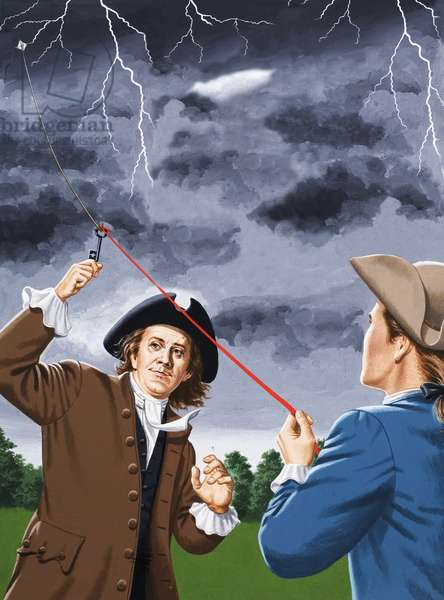 Benjamin Franklin experimenting with lightning