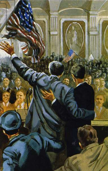 Roosevelt was again elected President in 1940 (colour litho)