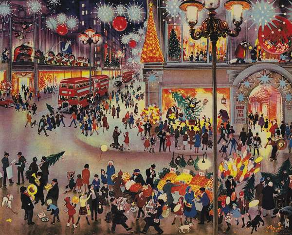 Christmas Shopping (colour litho)