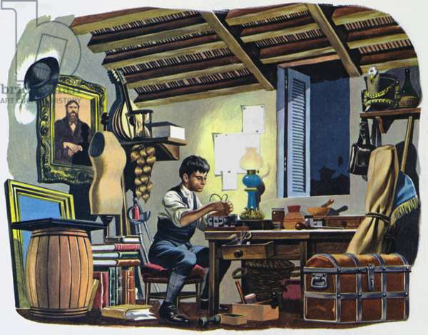 Guglielmo Marconi, as a boy, in the attic of his home in Bologna, Italy (colour litho)