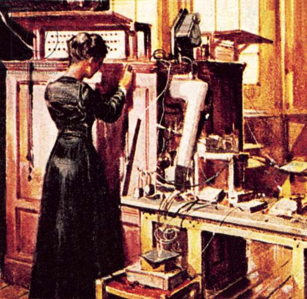 Madame Curie in her laboratory