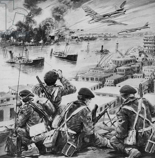 Suez Crisis, 1956 (litho)