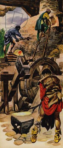 Making iron in the Middle Ages (colour litho)