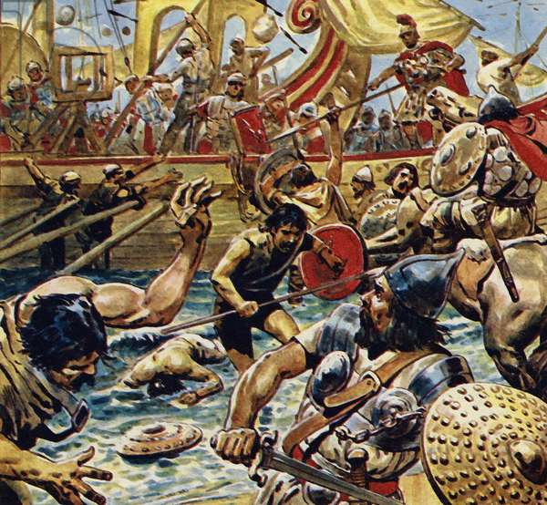 Caesar ordered his boats in close and laid down a bombardment of arrows (colour litho)