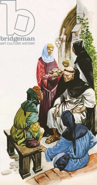 Dominican friars (colour litho)