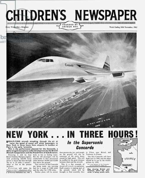 Concorde, front page of 'The Children's Newspaper', November 1963 (newsprint)