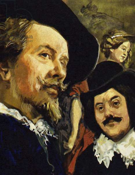 Hals met Paul Rubens (left) on a trip to Antwerp (colour litho)