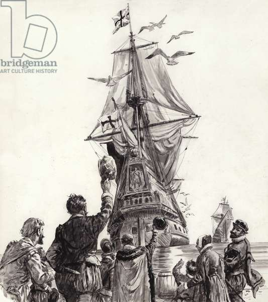 The Golden Hind (gouache on paper)