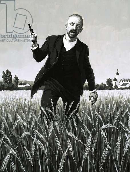 Vincent Van Gogh walking through a wheat field towards his death