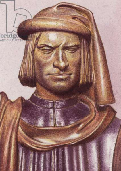 Terracotta bust of Lorenzo de Medici by artist Andrea Verrocchio (gouache on paper)