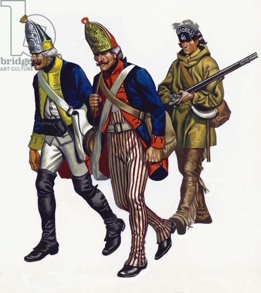 Hessians taken prisoner by George Washington's army at the Battle of Trenton (gouache on paper)