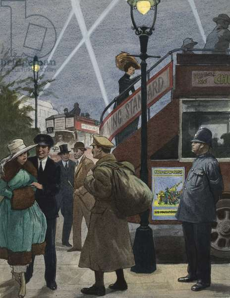 London in the First World War (gouache on paper)
