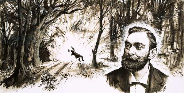 Alfred Nobel lost his youngest brother in a titanic explosion (gouache on paper)
