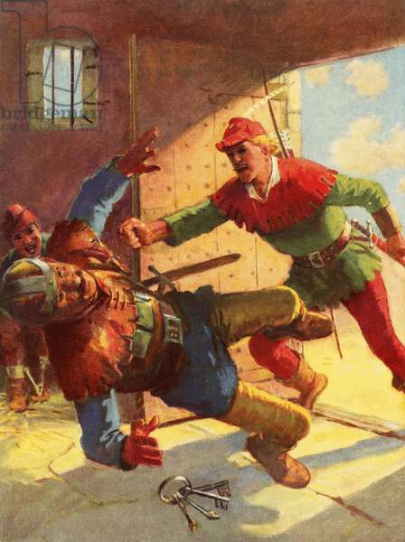 Robin Hood attacking Little John's guard