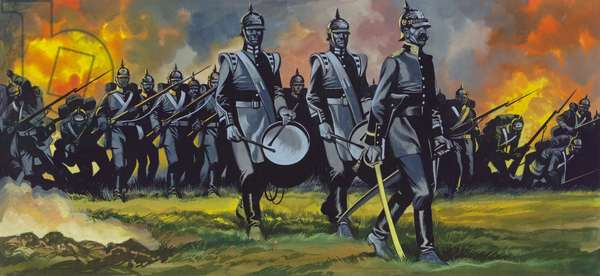 The Battle of Sadowa, 1866, the Army of the Elbe advancing at a uniform pace with bands playing (gouache on paper)