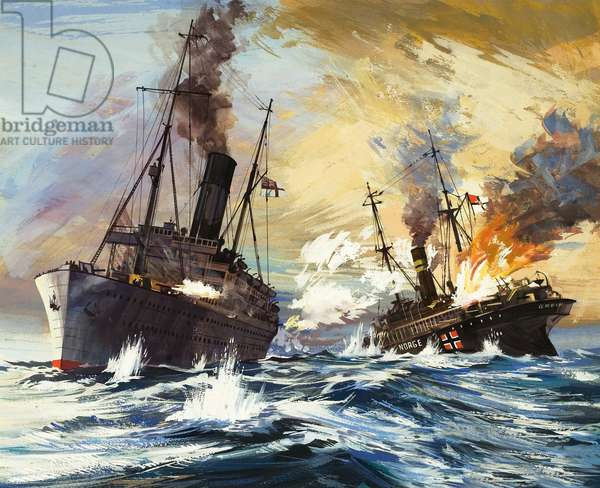 The battle between the British Alcantara and German Grail in World War I