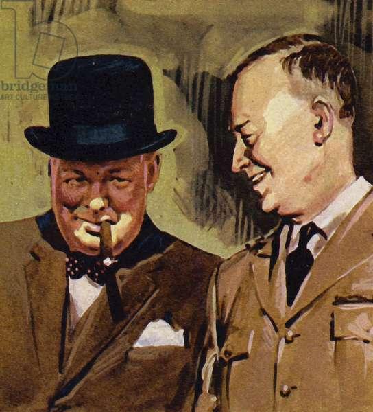 Eisenhower and Winston Churchill (colour litho)