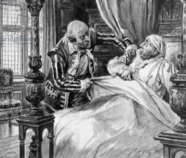 The Lord Mayor of London, annoyed to be woken by what proved to be the Great Fire of London (litho)