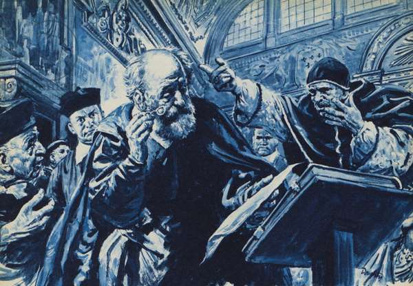 The trial of Galileo (litho)