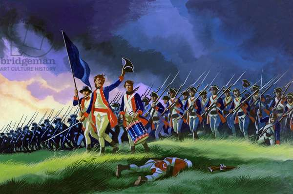The Battle Of Saratoga, showing a general attack led by Brigadier Arnold (gouache on paper)