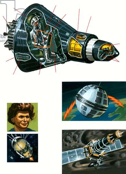 Cut-away of Mercury spacecraft (gouache on paper)