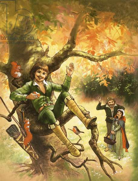Robin Hood resting in a tree