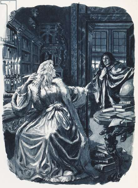 Christina of Sweden summoned the philosopher Descartes to give her instruction three time a week … (colour litho)