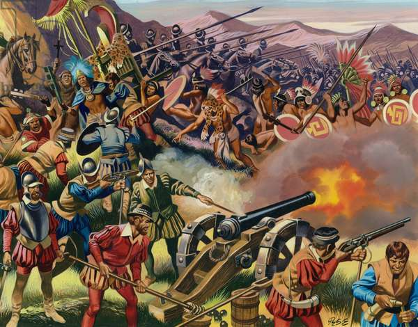 Capture of Atahualpa by the Spanish (gouache on paper)
