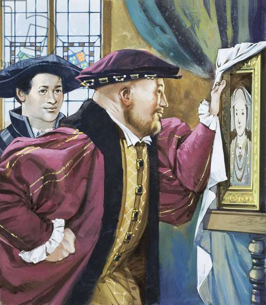 Holbein was sent by Henry VIII to paint the young Princess Anne of Cleves (gouache on paper)