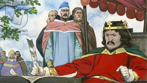 King John reluctantly signing Magna Carta
