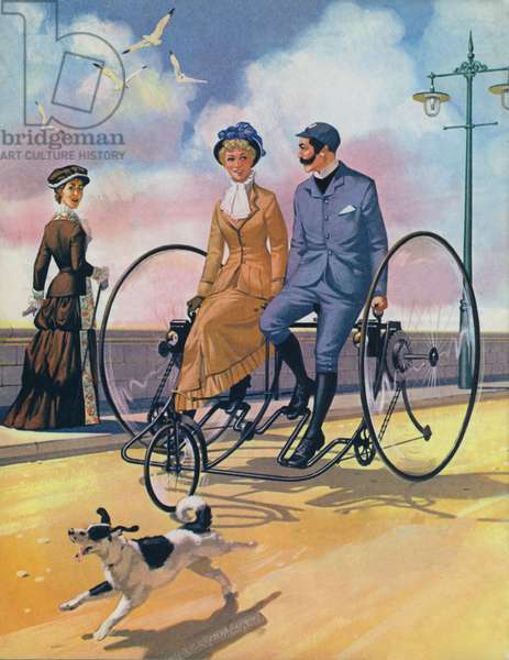 An 1882 bicycle made for two (colour litho)