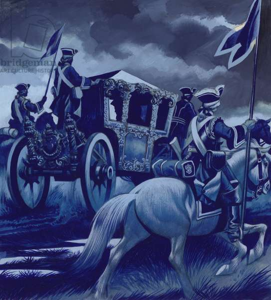 The Battle Of Poltava, with Charles XII of Sweden being escorted to safety before the surrender (gouache on paper)