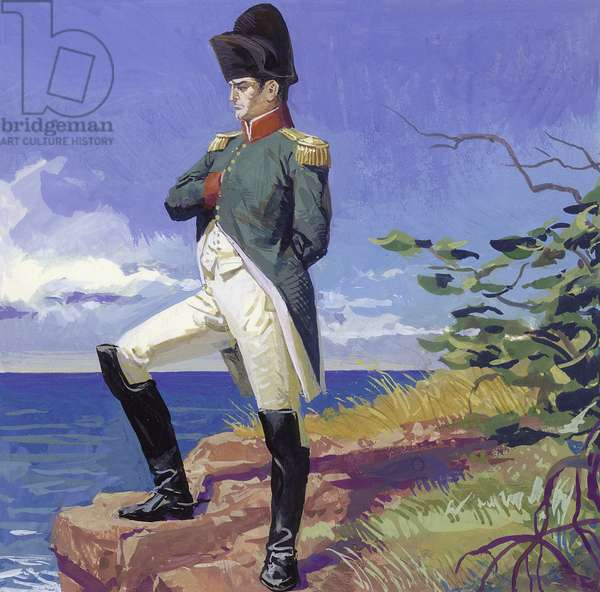 Napoleon in exile on the island of St Helena (gouache on paper)