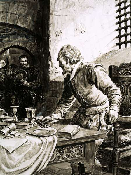 Sir Walter Raleigh on the day of his execution (gouache on paper)