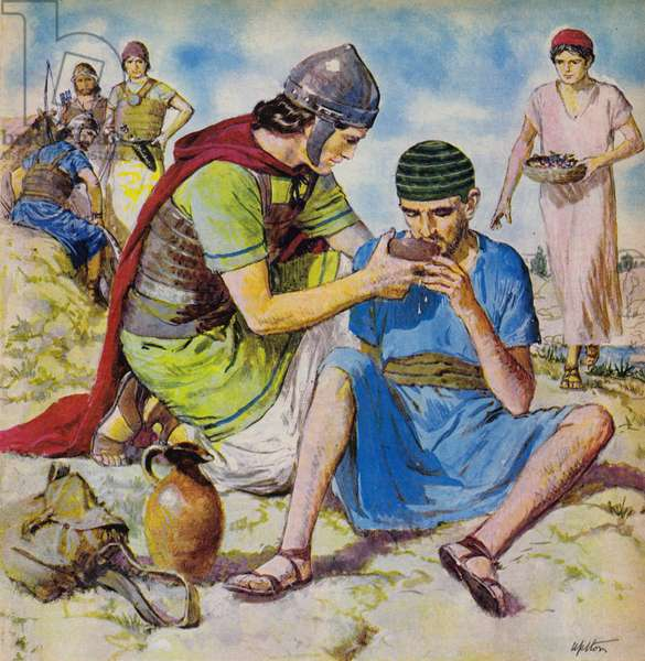 David's kindness to the servant of the Amalekites (colour litho)