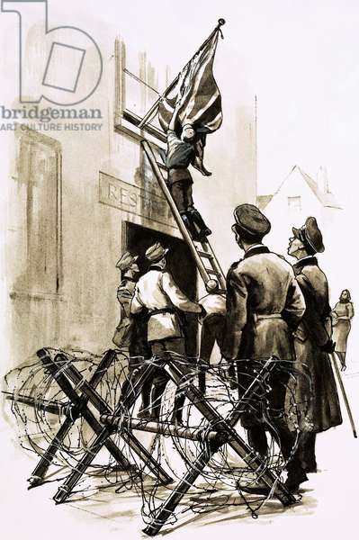 Under German occupation, Union Jacks were torn down (gouache on paper)