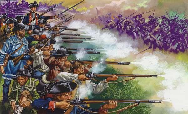 The Battle Of Bunker Hill (gouache on paper)