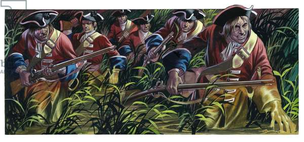 The allied infantry advancing through the marshes around the Little Geete, Battle Of Ramillies, 1706 (gouache on paper)