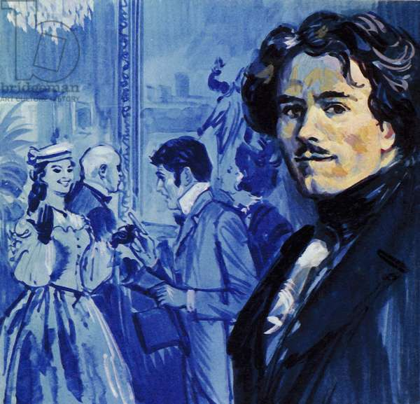 Eugene Delacroix sent in his painting and it caused a sensation in Paris (colour litho)