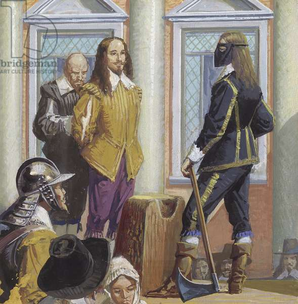 The execution of king Charles I (gouache on paper)